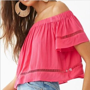 Forever21 hot pink off the shoulder top